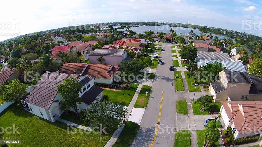 Neighborhood streetaerial view stock photo
