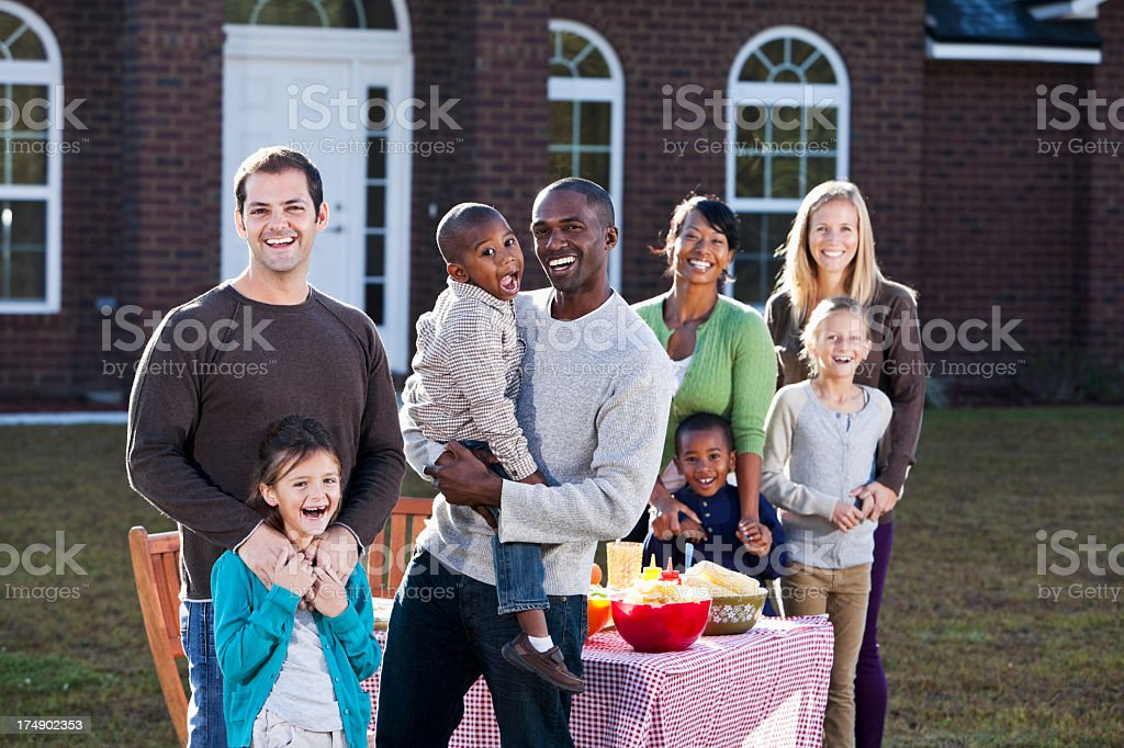 Neighbors having picnic royalty-free stock photo