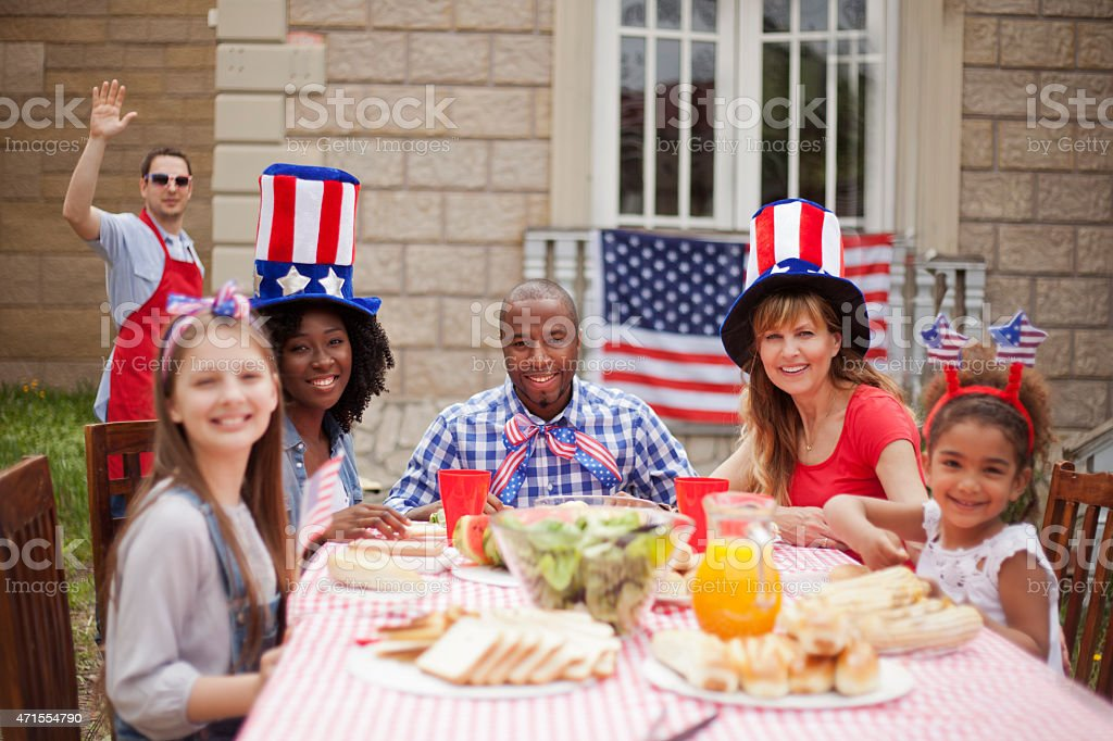 Neighbors on Independence Day stock photo