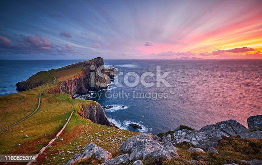 Neist Point is one of the most famous lighthouses in Scotland and can be found on the most westerly tip of Skye near the township of Glendale. You will see stunning views of the high cliffs and the lighthouse itself, at sunset the view is made even more spectacular making this a top destination for landscape photographers. Here you can see the lighthouse during a beautiful sunset in October.