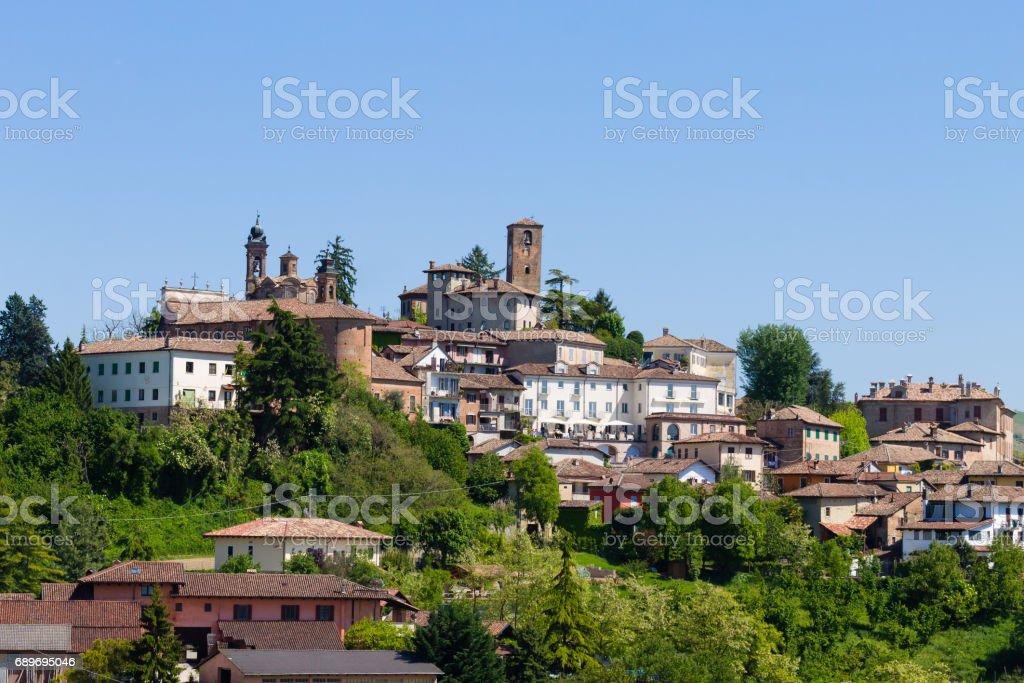 Neive town view from Langhe,Italian landmark stock photo