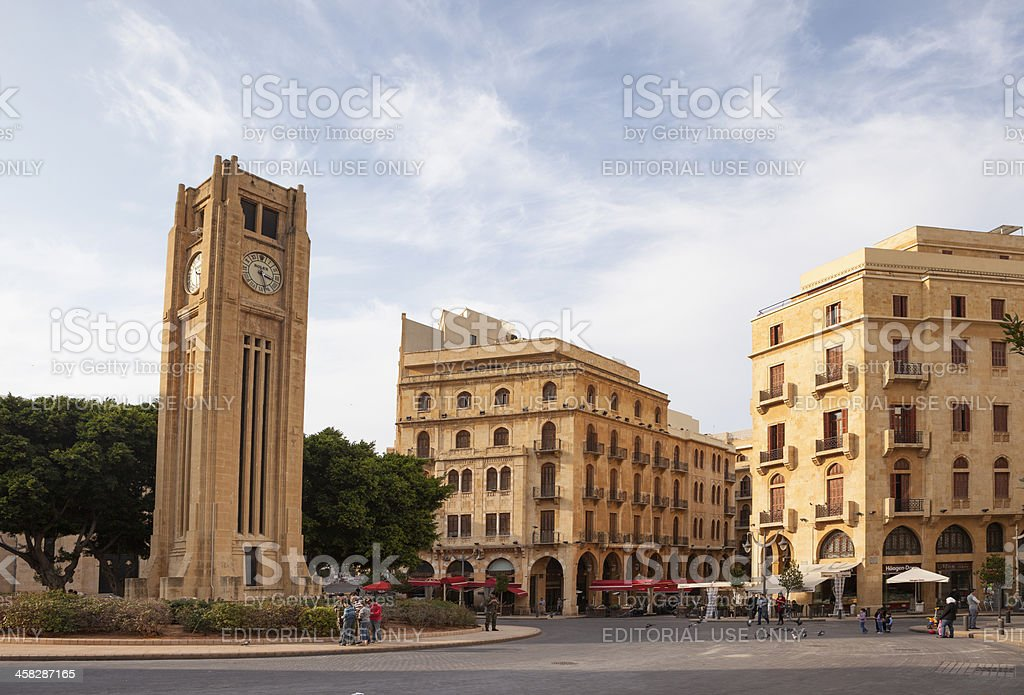 Nejmeh square, Beirut City Center, Lebanon stock photo
