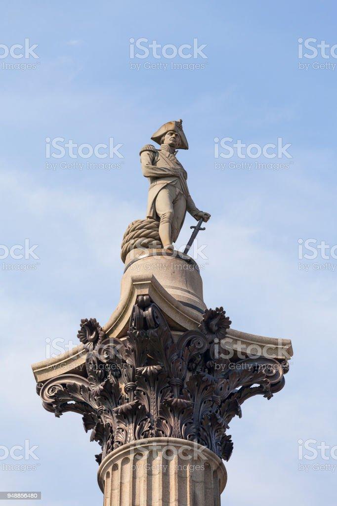Nelson Column, statue of Admiral  Nelson, Trafalgar Square, London, United Kingdom stock photo