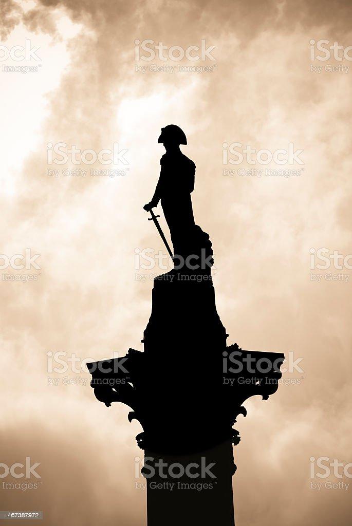 Nelson colunm. Admiral Nelson statue in Trafalgar Square, London stock photo