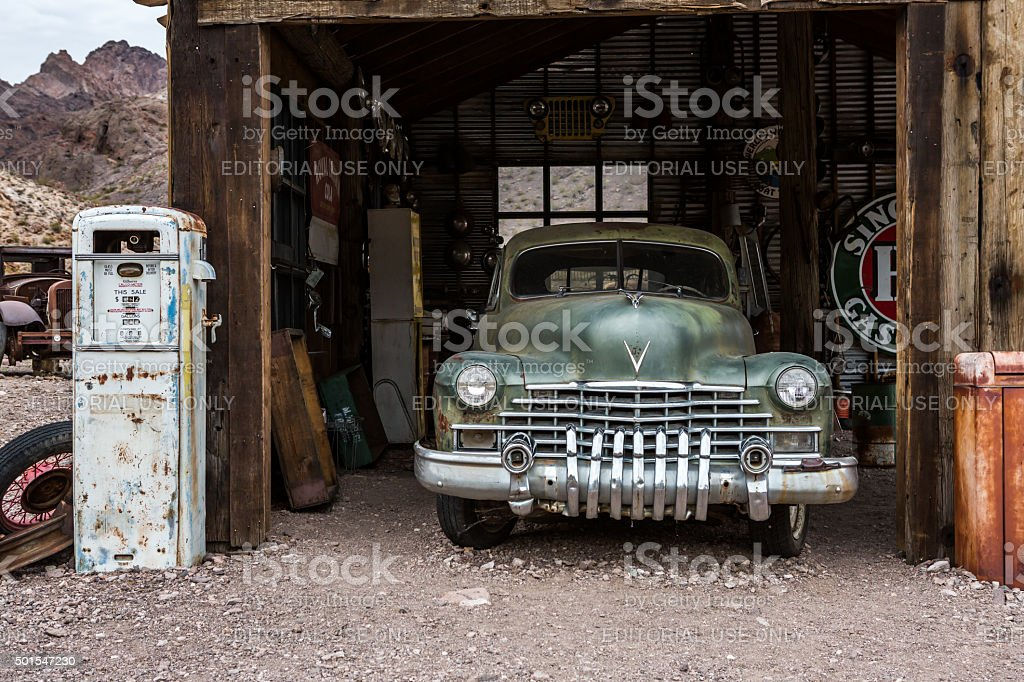 Nelson Ghost Town old grunge truck and barrack stock photo
