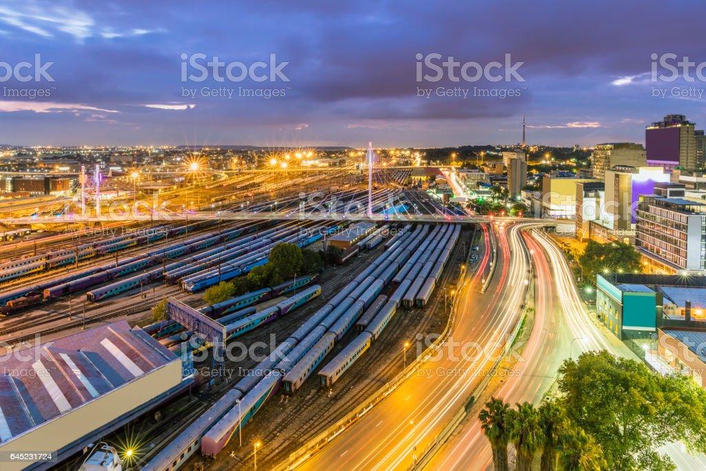Nelson Mandela Bridge and Johannesburg evening cityscape stock photo