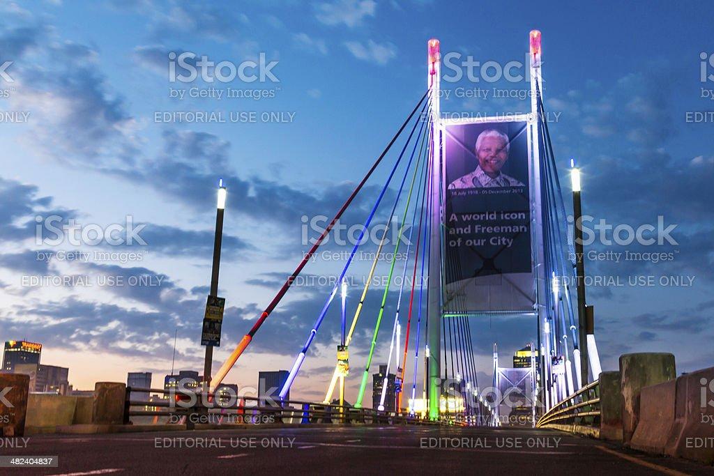 Nelson Mandela Bridge at sunrise stock photo