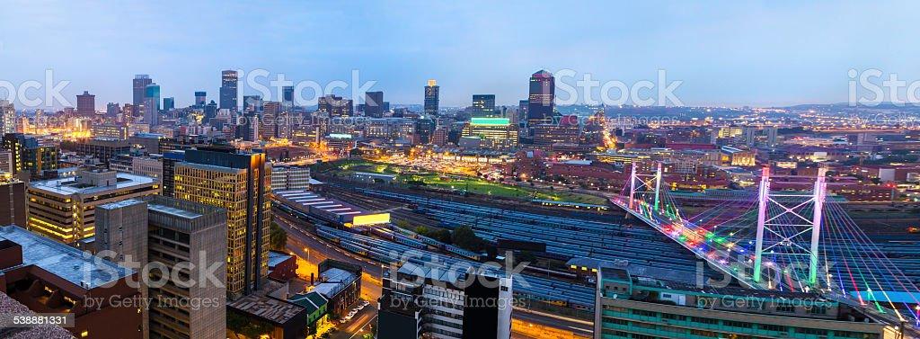 Nelson Mandela Bridge evening panoramic stock photo