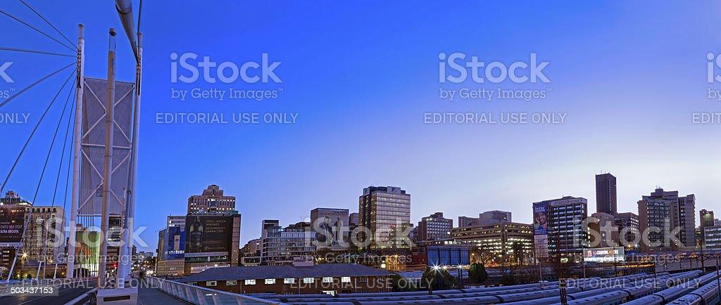 Nelson Mandela Bridge sunrise panorama stock photo
