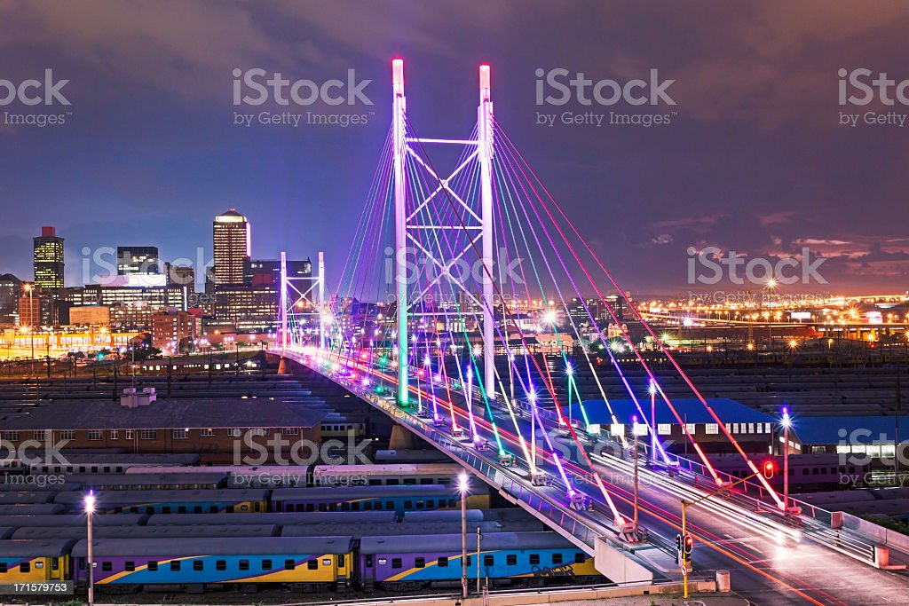 Nelson Mandela Bridge sunset stock photo