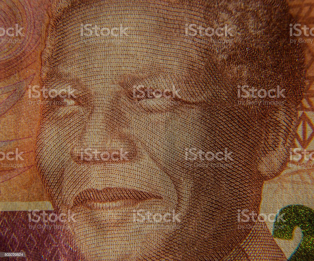 Nelson Mandela on Rand Note stock photo