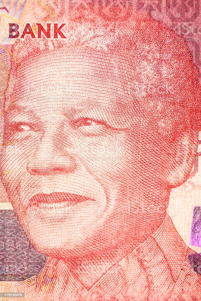 Nelson Mandela, Portrait on the bill stock photo