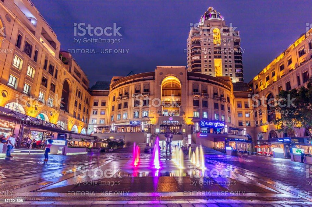 Nelson Mandela Square in the evening, Johannesburg stock photo