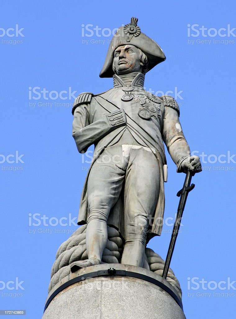 Nelsons Column in Trafalgar Square London stock photo