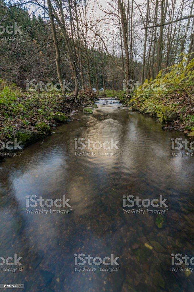 Nemilka creek near Zabreh town in autumn evening stock photo