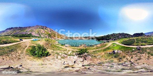 istock Nemrut Crater Mountain Small Lake 360 degree view 929494964