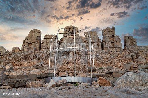 Commagene statue ruins on top of Nemrut Mountain in Adiyaman, Turkey.