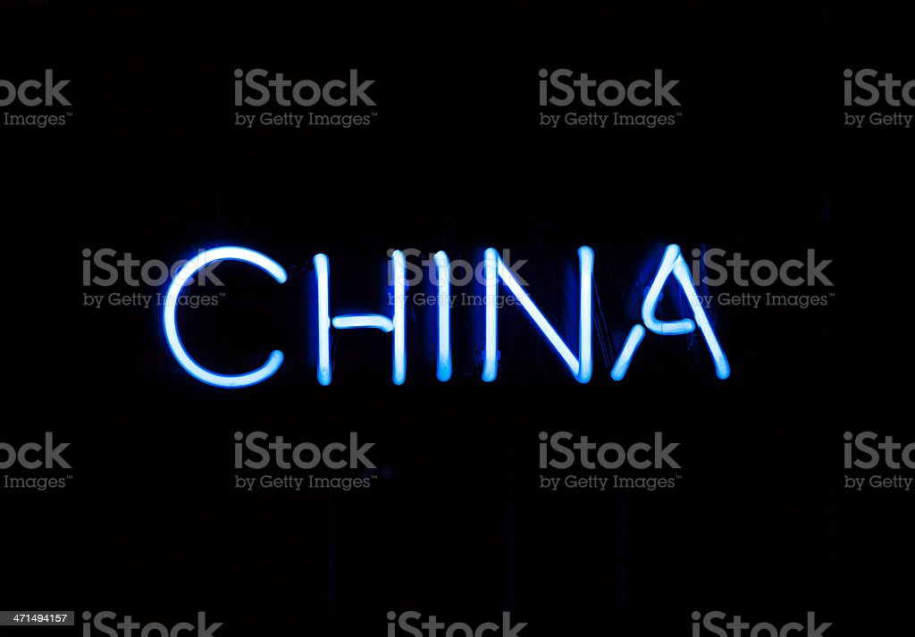 Neo blue sign 'China' against black background, copy space royalty-free stock photo