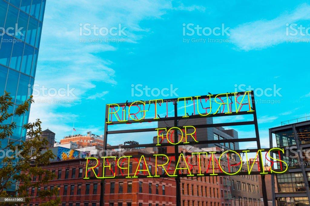 Sinal de neo Manhattan, Nova Iorque - Foto de stock de Arte, Cultura e Espetáculo royalty-free