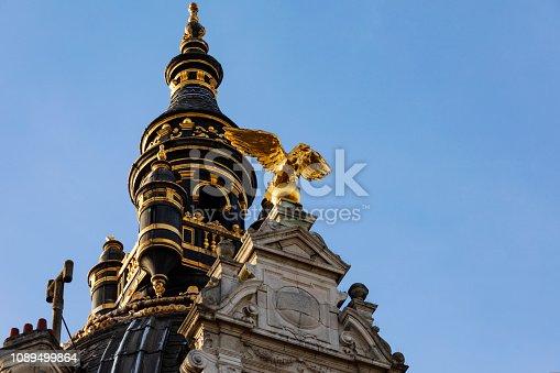 impressive neobaroque facade of the former Grand Hotel Metropole; Antwerp, Belgium