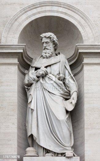 Neoclassic marble statue in its niche, in Rome
