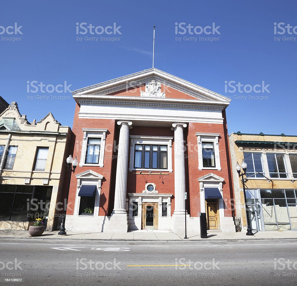 Neoclassical Bank Building in a Chicago Neighborhood royalty-free stock photo