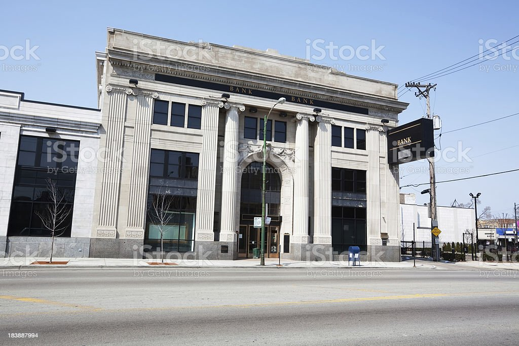 Neoclassical bank building in Chicago royalty-free stock photo