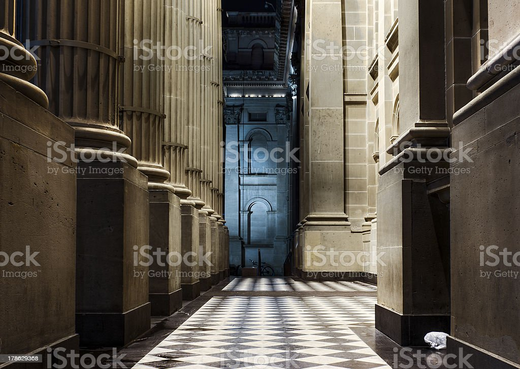 Neoclassical Colonnade at Night royalty-free stock photo
