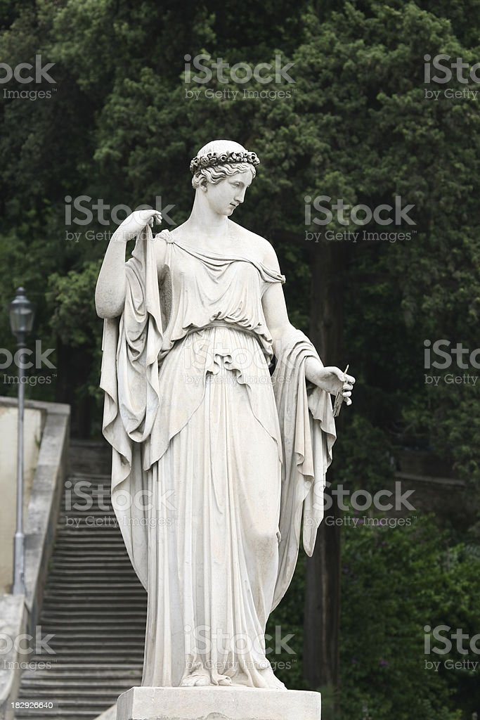 Neo-Classical sculpture of a woman in Rome, Italy stock photo