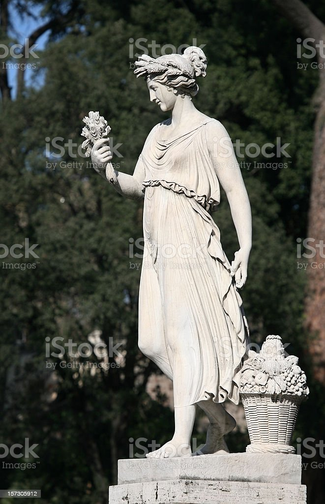 Neo-Classical sculpture of a woman - Piazza del Popolo, Rome stock photo