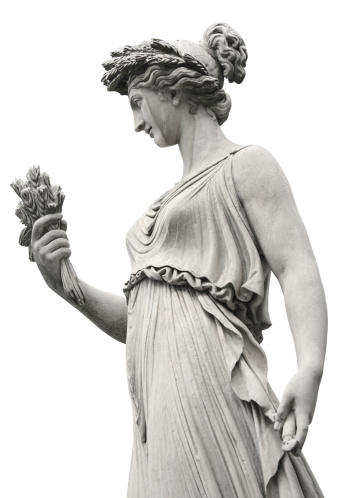 Neo-Classical sculpture of a women at Piazza del Popolo in Rome, Italy