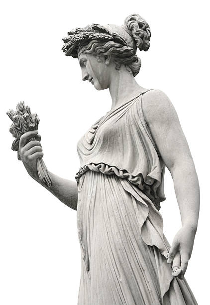 neo-classical sculpture of a women, rome italy - sculptuur stockfoto's en -beelden