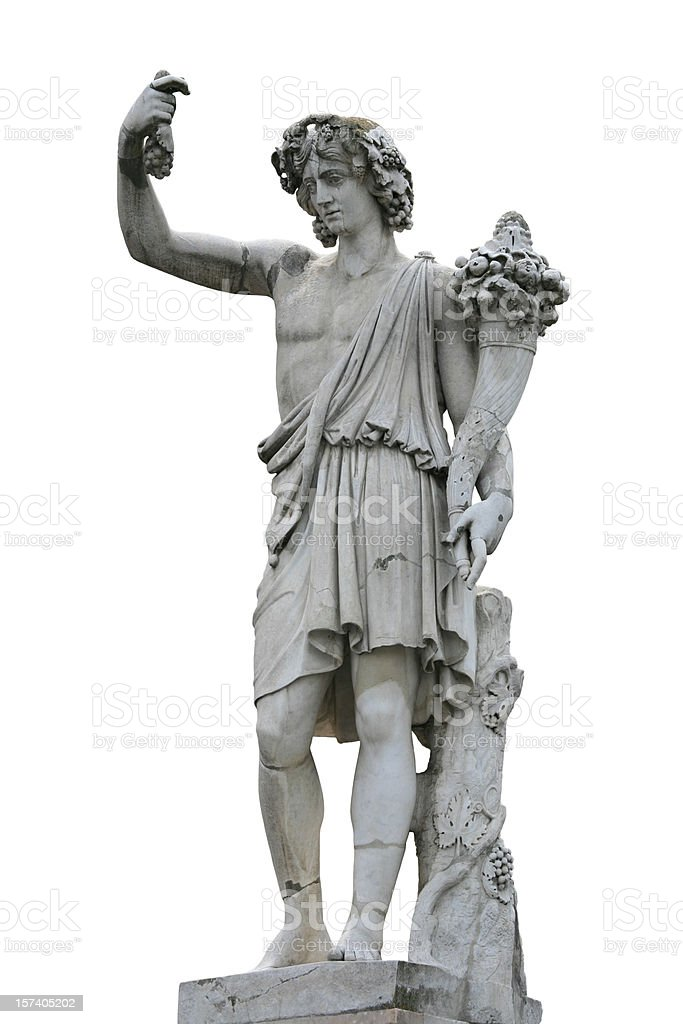 Neo-Classical sculpture of a young man with Cornucopia stock photo