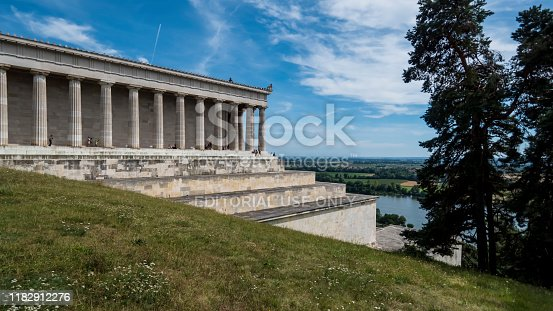 Regensburg 2019. Tourists visiting the neoclassical temple Walhalla. Commissioned by Ludwig I of Bavaria, it still hangs over the Danube today. August 2019 in Regensburg.