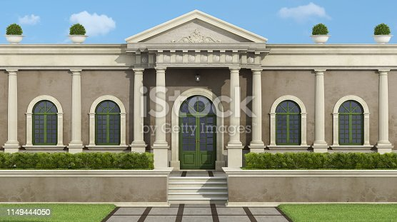 Facade with neoclassical villa with luxury garden garden - 3d rendering  Villa does not exist in reality, Property model is not necessary
