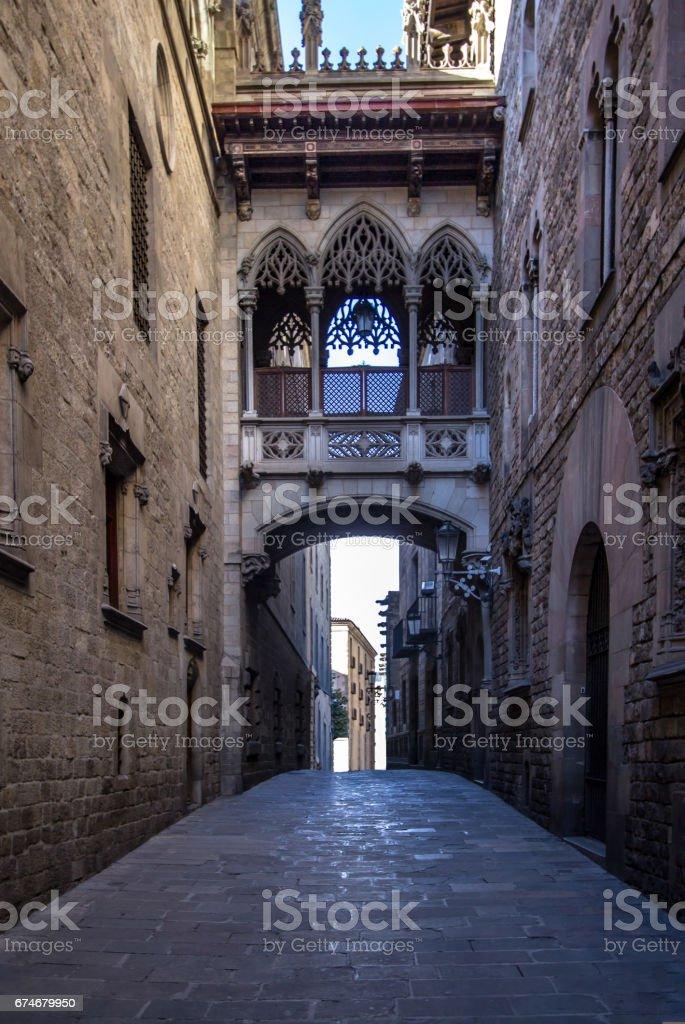 Neogothic bridge at Carrer del Bisbe in Barcelona stock photo