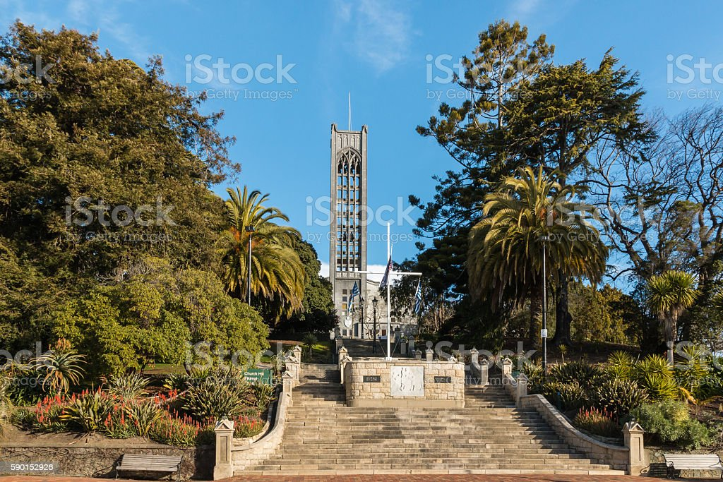 neogothic cathedral in Nelson town stock photo
