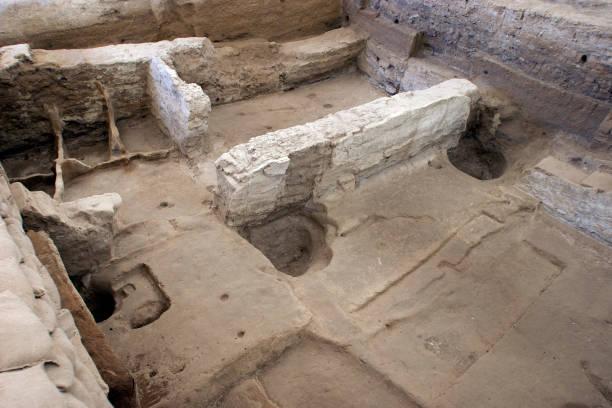 Neolithic city Catal Huyuk in Konya, Turkey. stock photo
