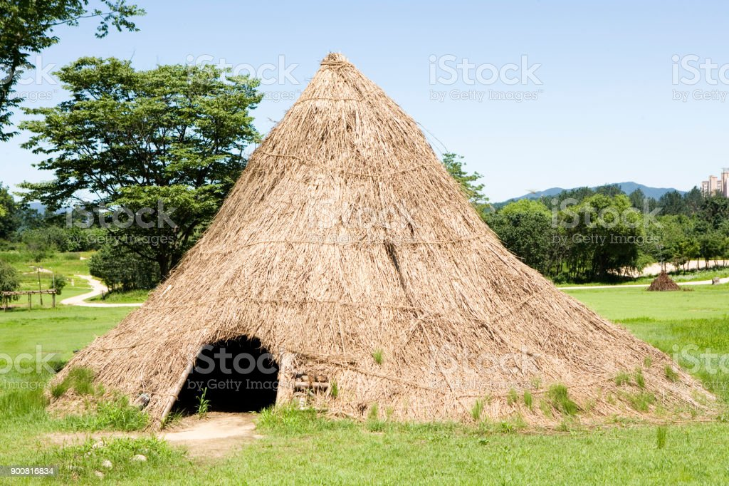 Neolithic house stock photo