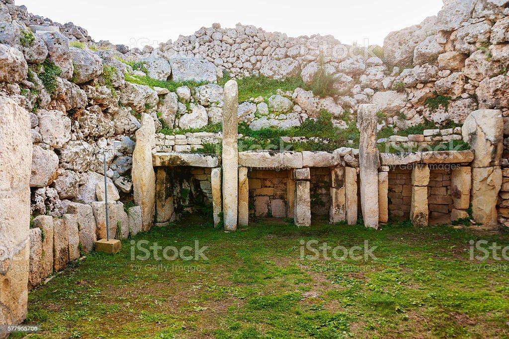 Neolithic megalith temple complex of Ggantija. Malta. – Foto