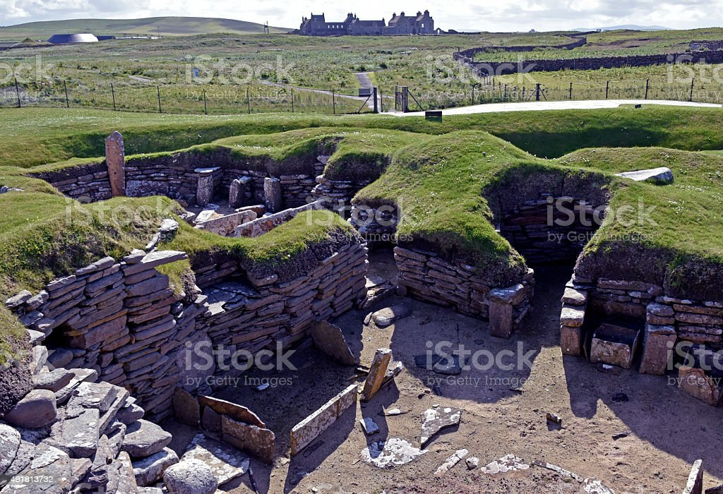Neolithic Village of Skara Brae inside view stock photo