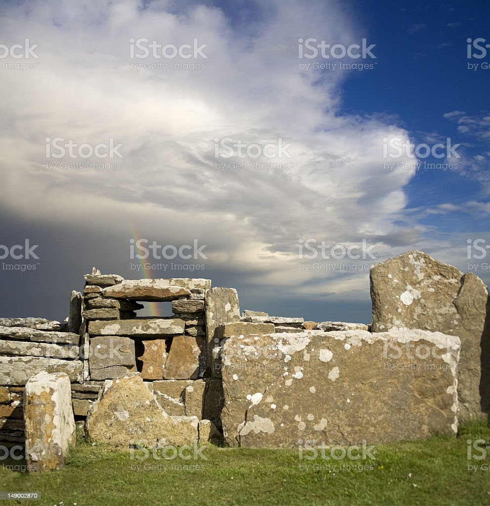 neolithic wall, Scara Brae, Orkney, Scotland. stock photo