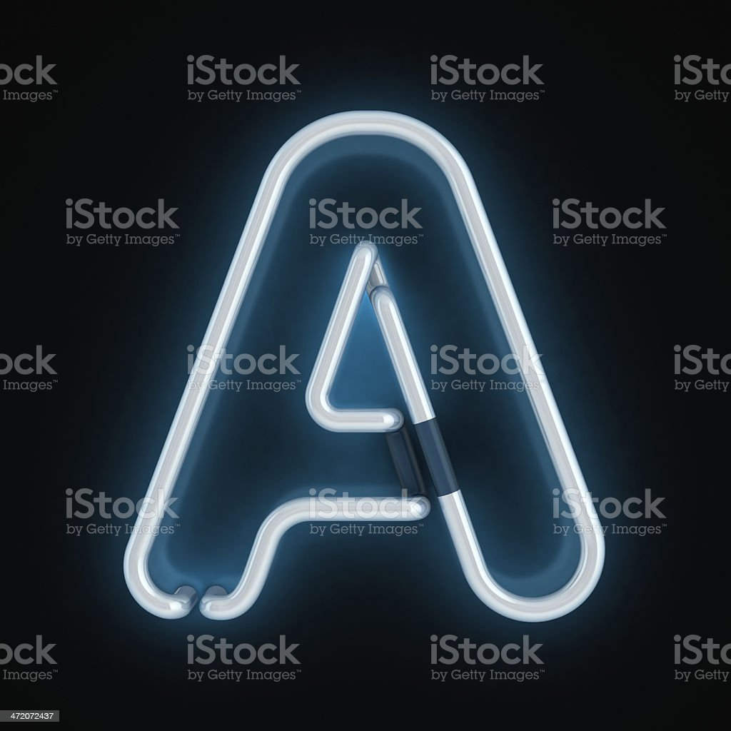 neon 3d font letter A stock photo