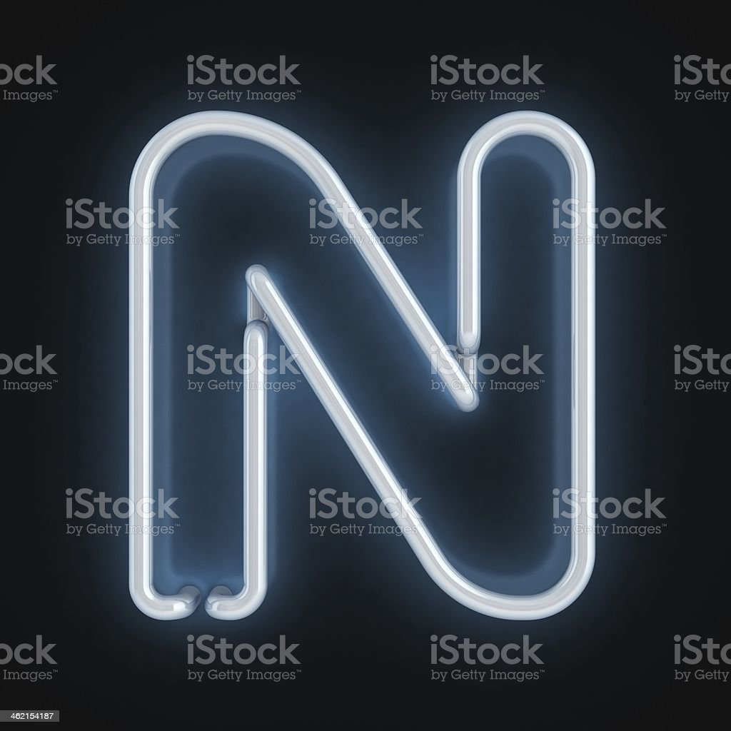 neon 3d font letter N stock photo