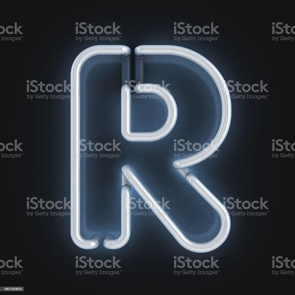 neon 3d font letter R stock photo