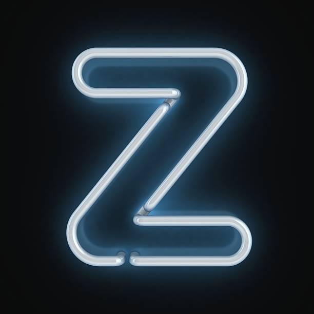 neon 3d font letter Z stock photo
