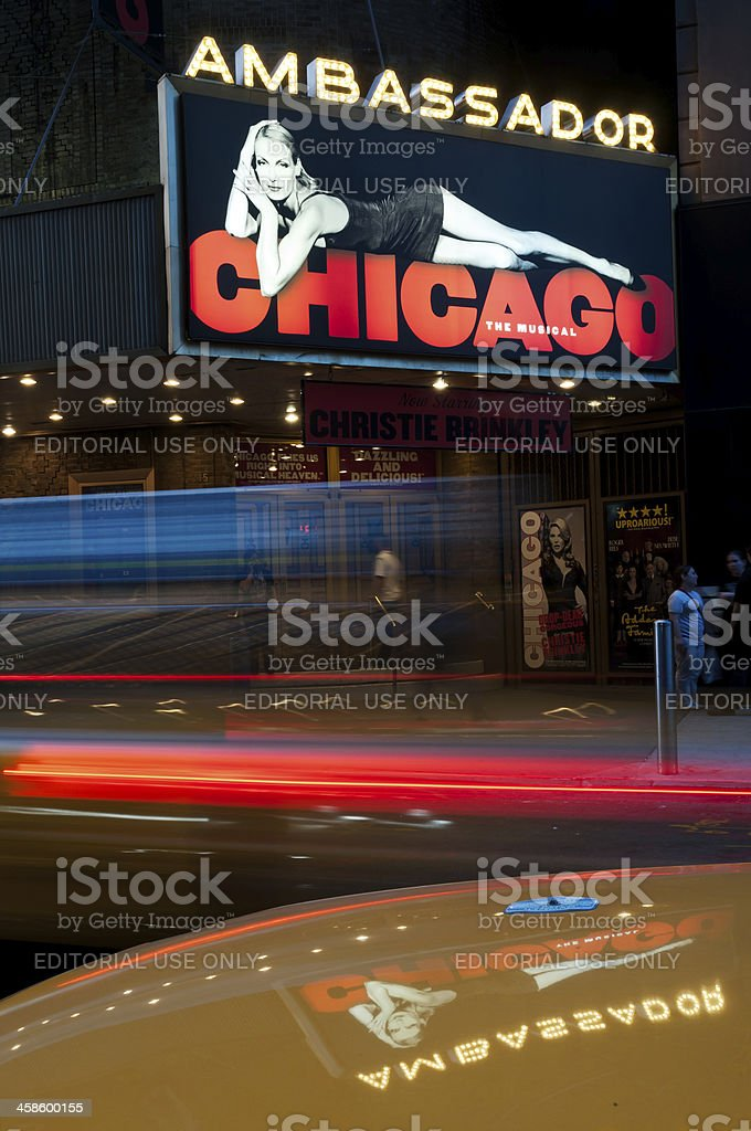 Neon ad for Chicago musical on Broadway royalty-free stock photo
