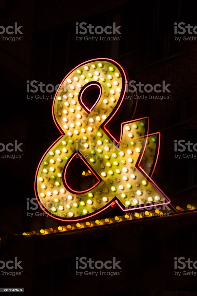 Neon ampersand sign - Stock image stock photo