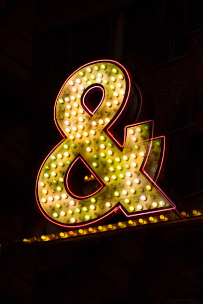 neon ampersand sign - stock image - ampersand stock pictures, royalty-free photos & images