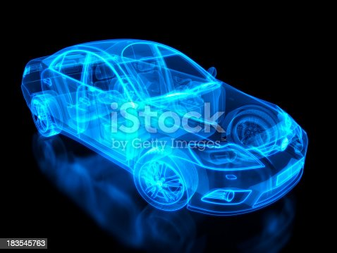 istock Neon anatomy of an automobile on black background 183545763